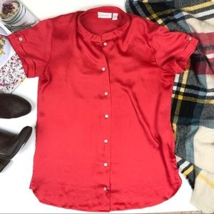Chico's Red mock neck button down blouse